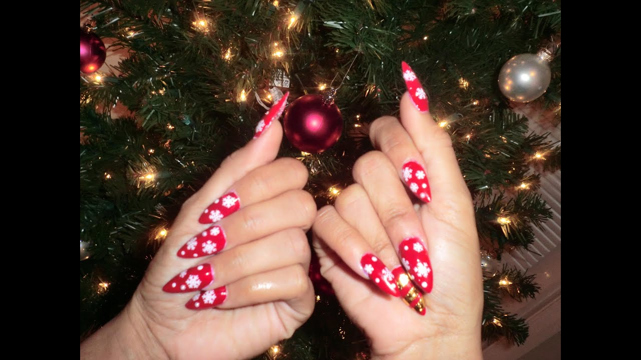 Holiday Stiletto Nails - YouTube