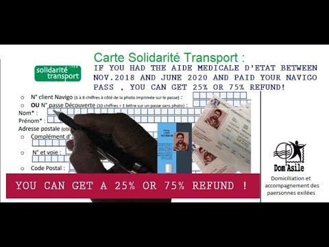 English Reimbursement Carte Solidarite Transport 2018 2020 Youtube