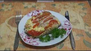 Домашние видео рецепты - куриная грудка с сыром и помидорами в мультиварке