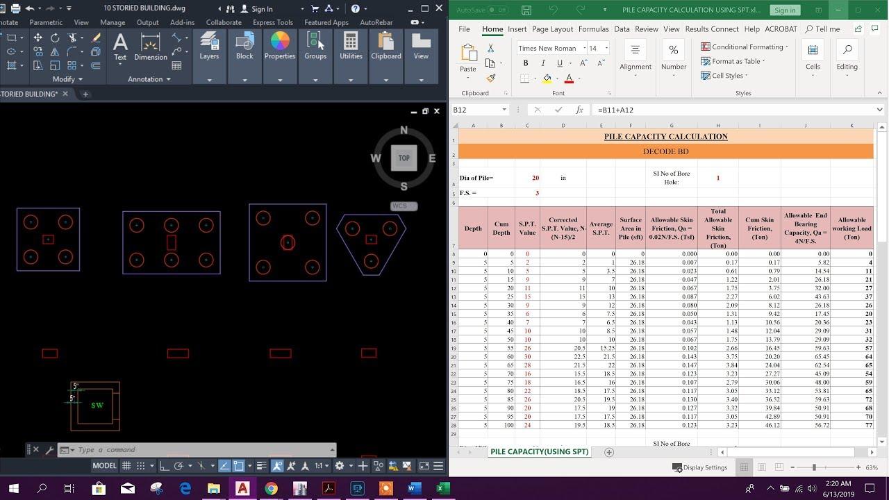 Pile Capacity Calculation Using Spt Pile Arrangement Youtube