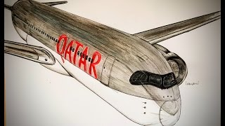 QATAR AIRWAYS, AIRBUS 350, drawing timelapse