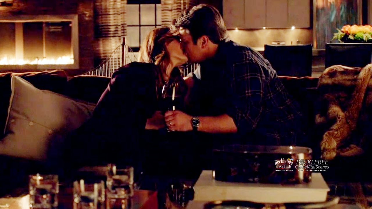 """Castle 8x12 End Scene Castle & Beckett Kiss with Wine Toss """"The Blame Game""""  Season 8 Episode 12"""