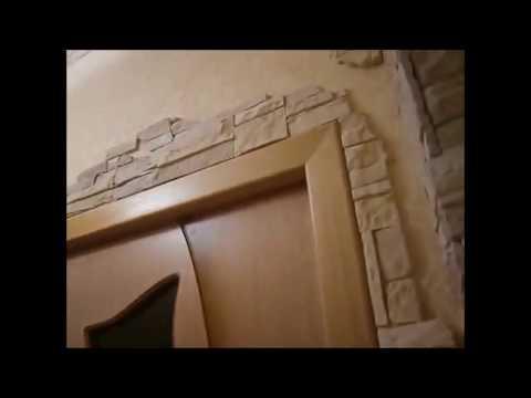 Отделка стен коридора декоративным камнем
