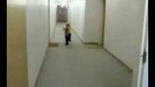 lil kid runs into wall