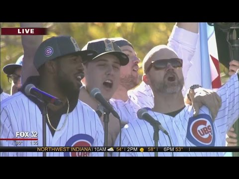 Chicago Cubs sing 'Go Cubs Go' with fans