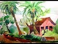 Tropical Landscape with Palm Trees in Watercolour- with Chris Petri ( Part 3 of 3 )