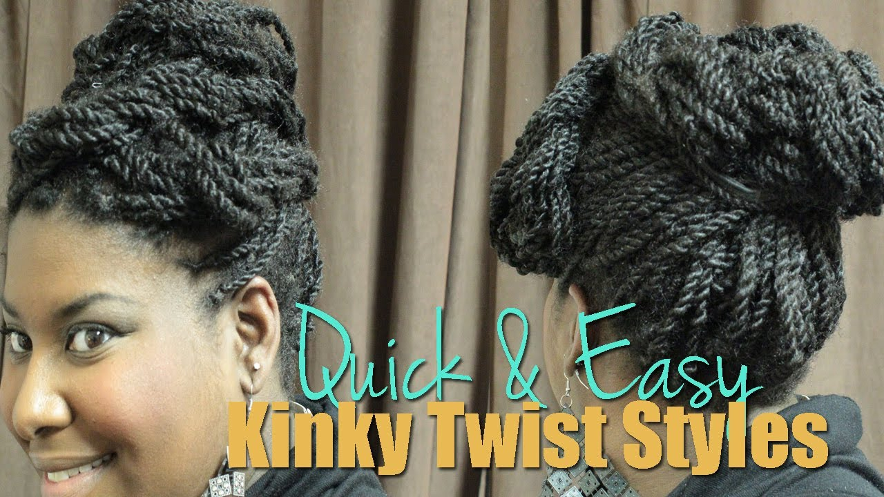 Natural Hair Tutorial 3 Quick Amp Easy Kinky Twist Updo Styles Mznaturallife Youtube