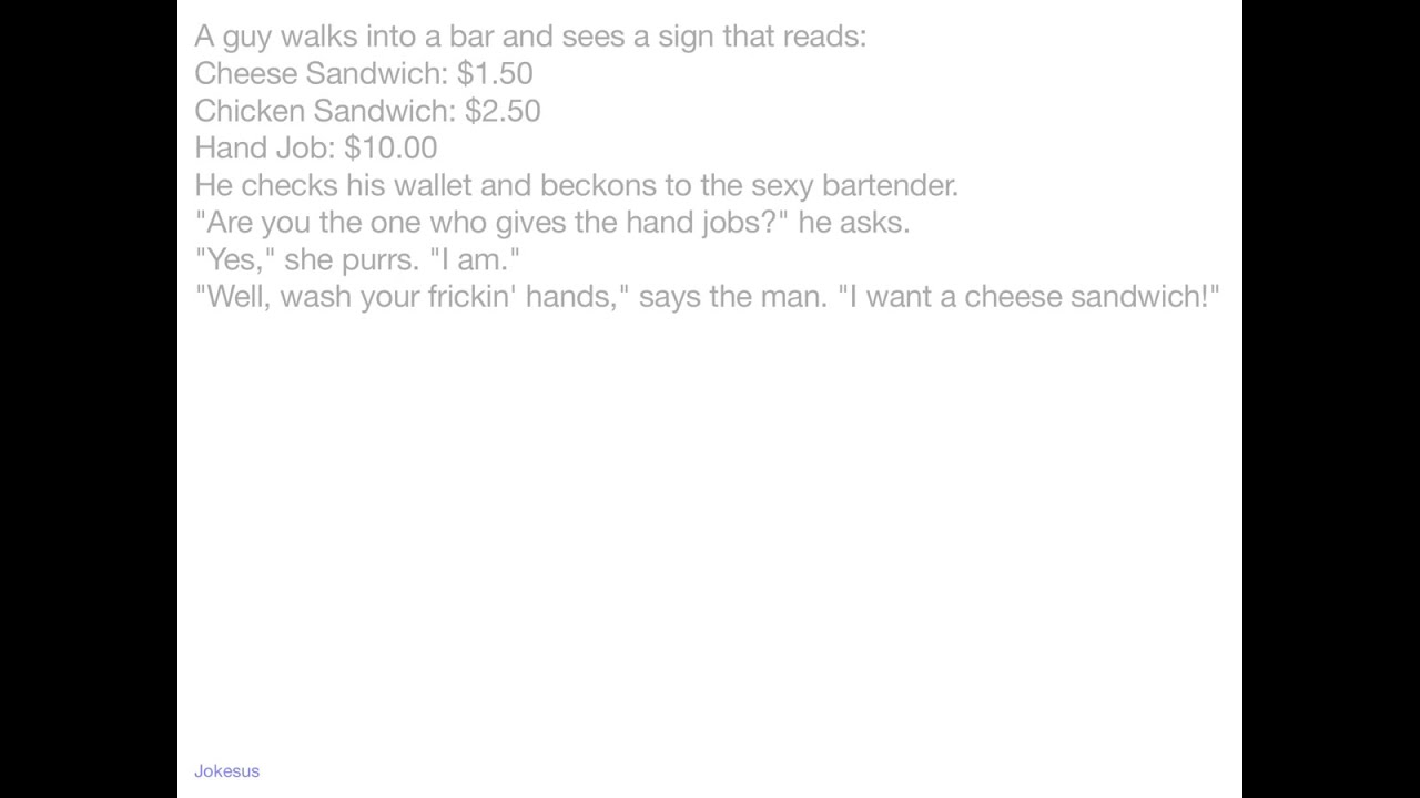 Would sexy bartender jokes version