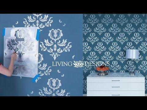 Cómo pintar y decorar una pared como papel tapiz en 2 horas con plantillas decorativas