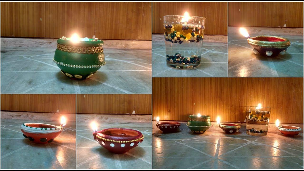 Diwali decoration ideas easy diya decoration at home for Diya decoration youtube