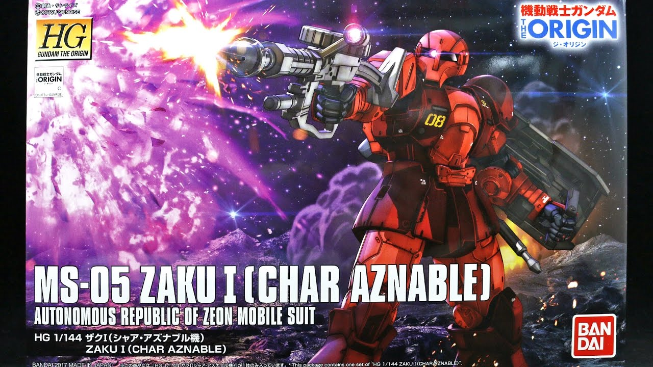 1//144 Scale Bandai Hobby HG The Origin Ms-05S Char Aznables Zaku I The Origin Building Kit