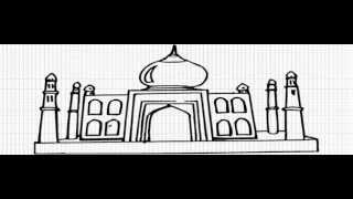 How to Draw Taj Mahal - Agra - India - Video - Easy Drawing for Kids