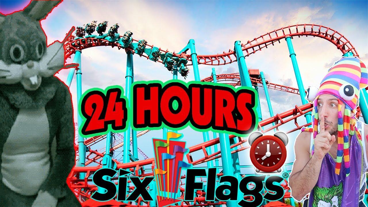 24 Hour Challenge At Worlds Biggest Six Flags Hide Seek Worlds Largest Six Flags Amu T Park