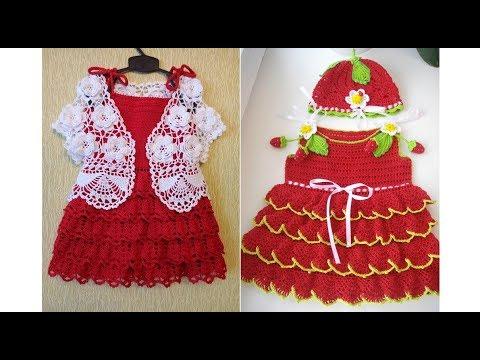 Модели детских вязаных платьев Фото