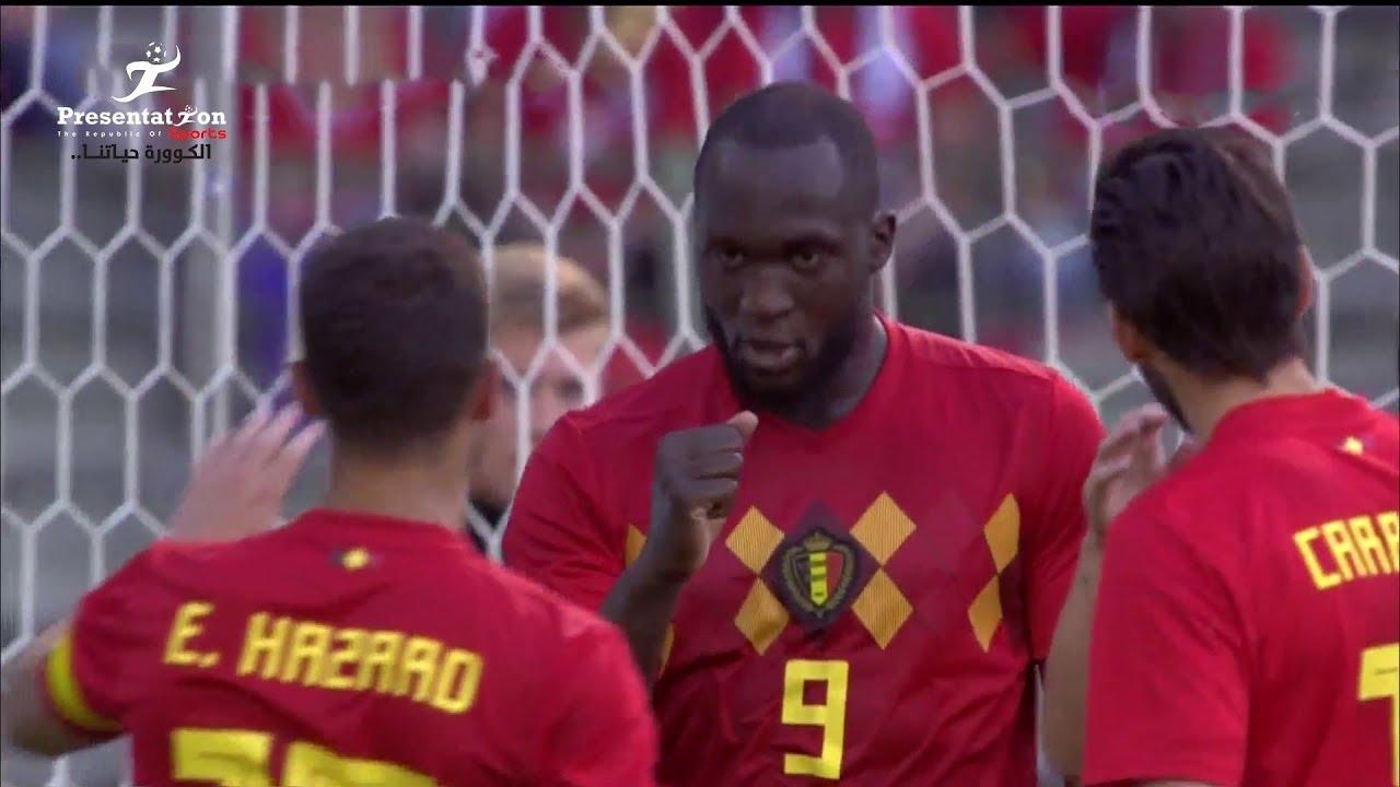 الهدف الأول لبلجيكا في شباك منتخب مصر - لوكاكو