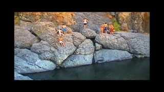 Chico State girls cliff jump FAiL at Bear Hole upper Bidwell Park California 2013