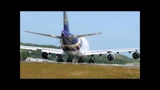 "IMPRESSIVE MONSTER AIRPLANE TAKEOFF ""Boeing 747""from PHUKET AIRPORT thailand travel asia"