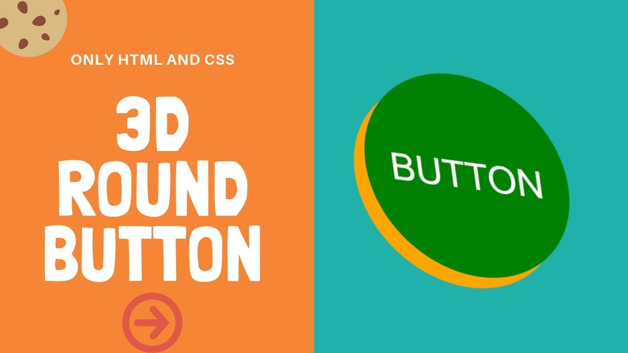 3D Round Button with pop-up effect | CSS only