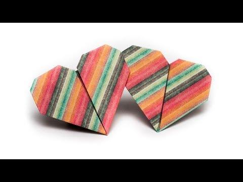 วิธีพับกระดาษรูปหัวใจคู่ (Origami Double Heart)