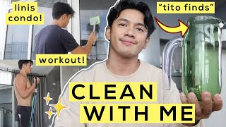 Clean my Condo with Me! Unboxing + Workout etc! #CasaGuisado