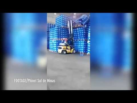 Watch calamitous moment forklift driver caused giant beer spillage with his dodgy delivery skills