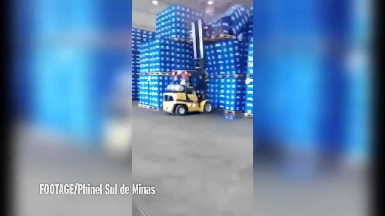 watch calamitous moment forklift driver caused giant beer spillage watch calamitous moment forklift driver caused giant beer spillage his dodgy delivery skills