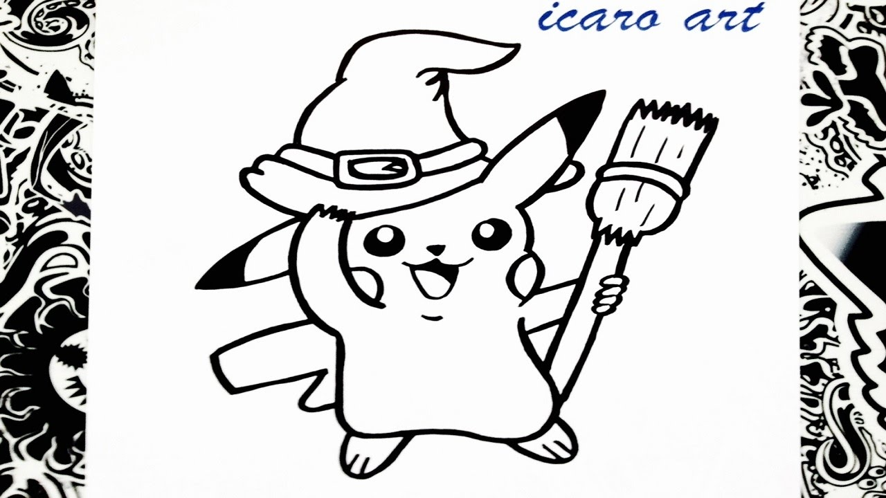 como dibujar a pikachu | halloween | how to draw pikachu - YouTube