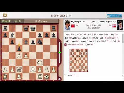 Fide world cup 2017 (Bu,Xiangzhi vs Magnus Carlsen ) Round 3.2