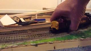 Model train run round-weathered