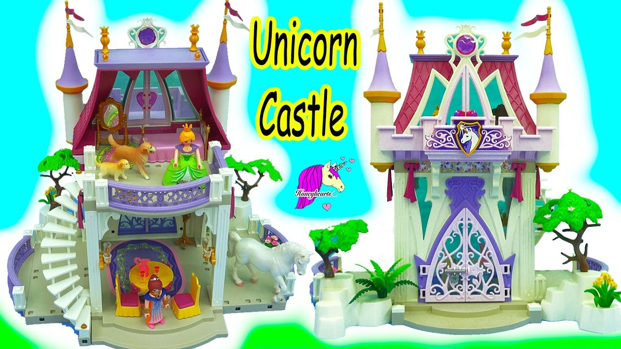 queen builds playmobil unicorn castle  schleich dog mom