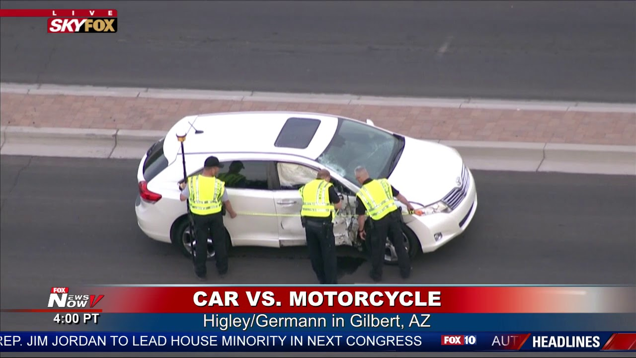 deadly motorcycle wreck: skyfox over the scene on higley and germann