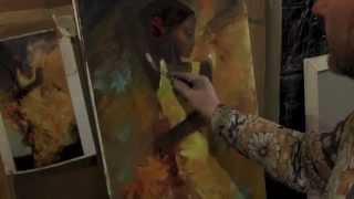 Танцовщица в желтом, художник Сахаров, живопись для начинающих
