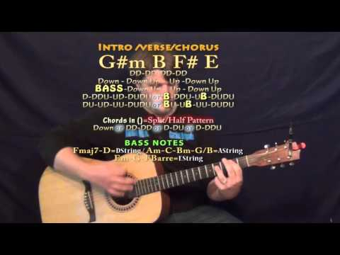 timber (pitbull) guitar lesson chord chart - g#m b f# e