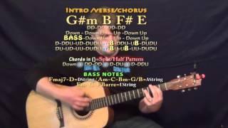 timber (pitbull) guitar lesson chord chart - g#m b f# e