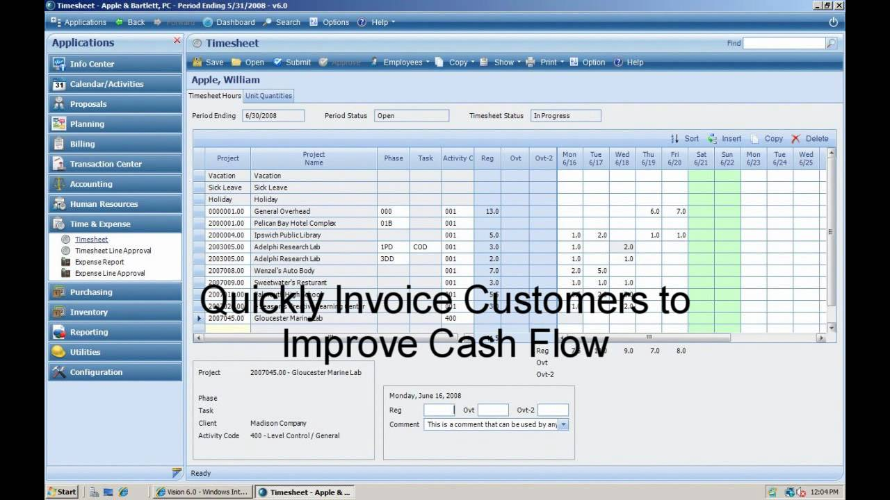 deltek vision time and expense management demonstration