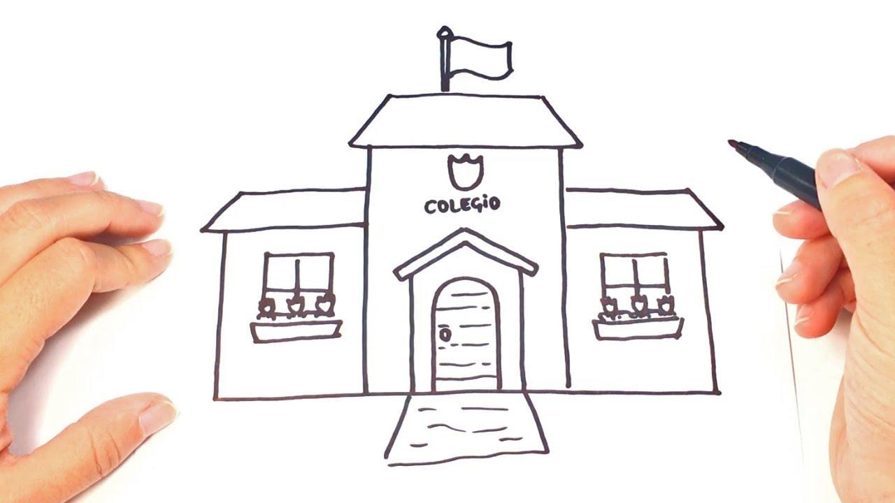 Como dibujar una escuela o colegio paso a paso youtube - Como decorar un dibujo de una castana ...
