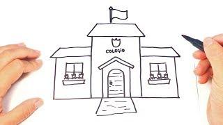 Como dibujar una Escuela o Colegio Paso a Paso