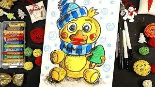 как нарисовать ФНАФ за 5 минут / Рисуем ЧИКУ на Новый год с Рыбакит