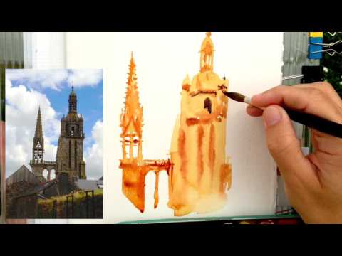 French church painting. Real time watercolor demo, on location, with commentary about the process.