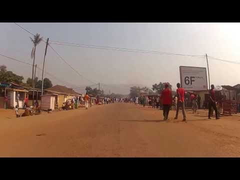 Driving through downtown Bangui, C.A.R.