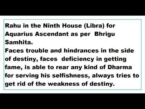 rahu in 9th House for aquarius Ascendant as per Bhrigu Samhita - YouTube