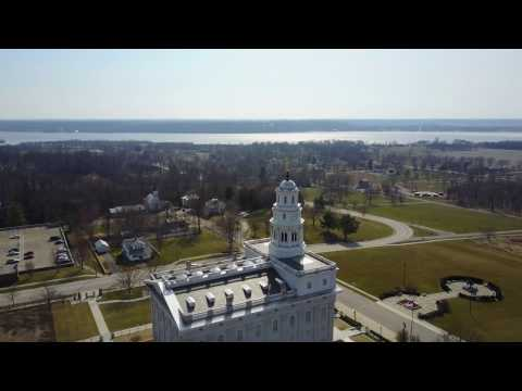2017-03-04 - Nauvoo Temple Angel Moroni's View And Flight To-From River - 4K