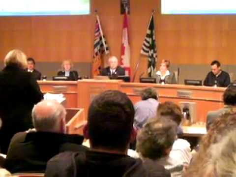 Sonya Patterson speaking to Langley City Council about protecting Hudson Bay Farm