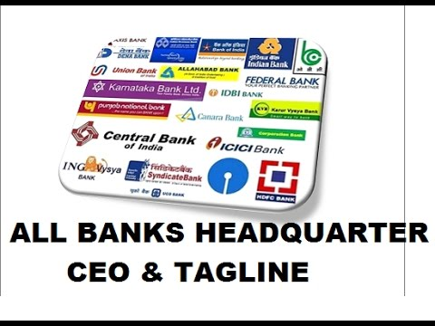 bank headquarters and their taglines || ibps po ibps rrb ibps clerk & sbi rbi etc.