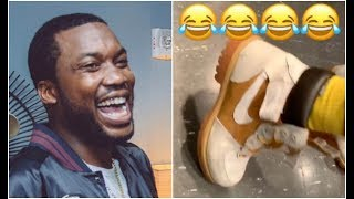 Meek Mill Clowns Friend For Wearing Timberland Boots With A Nike Sign On Them