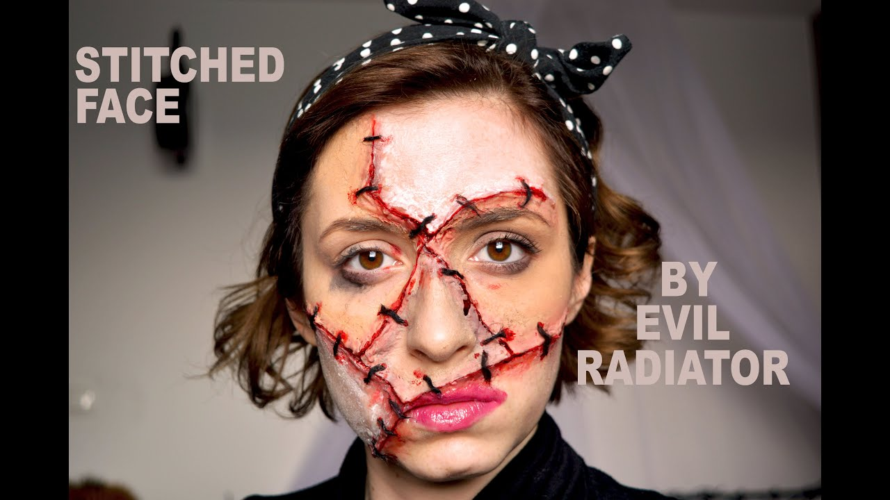 Stitches - stitched up face, SFX halloween makeup tutorial - YouTube