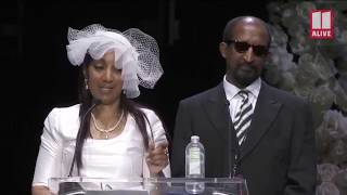 Nipsey Hussle's mom and dad pay tribute to him during memorial service