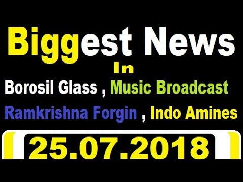 Breaking News in - Borosil Glass , Music Broadcast Ramkrishna Forgin , Indo Amines || intraday call