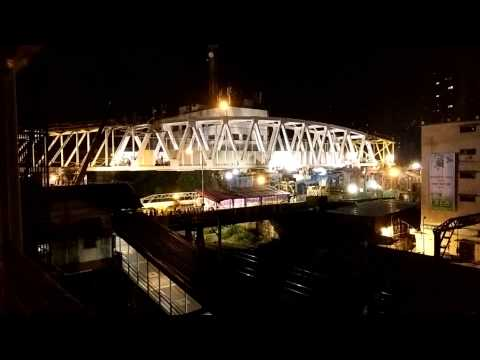 Monorail bridge positioning timelapse