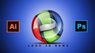 كيفية إنشاء [H] شعار Adobe Illustrator في أدوبي فوتوشوب 3D [لامعة] الآثار [الأردية] البرنامج التعليمي